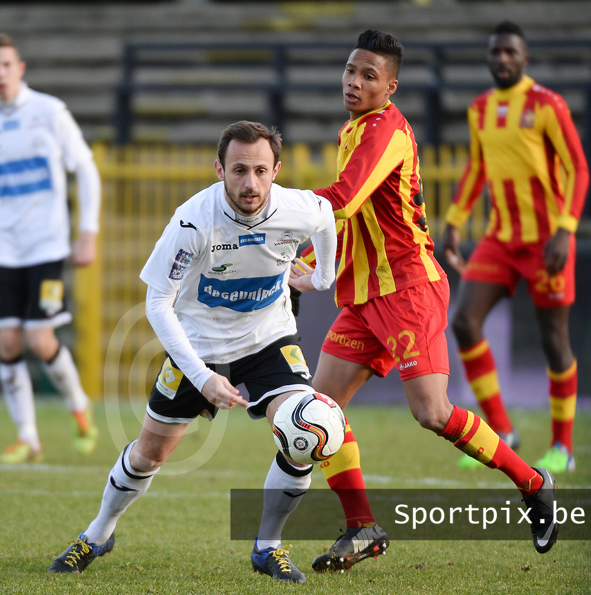 201502008 - ROESELARE , BELGIUM :  Roeselare's Mickael Seoudi (left) pictured with Tubize's Xavier Dijoux (right) in his back during a Belgian second division match between KSV Roeselare and AFC Tubize , during the 25th matchday of the Belgian Second division in the 2014-2015 season, Sunday 08 February 2015 in Roeselare . PHOTO DAVID CATRY