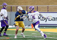 University at Albany Men's Lacrosse defeats Drexel 18-5 on Feb. 24 at Casey Stadium.  Connor Fields (#5) attacks. (Photo by Bruce Dudek / Cal Sport Media/Eclipse Sportswire)