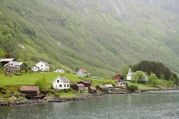 Quiet village along the Sognefjord in western fjords of Norway.