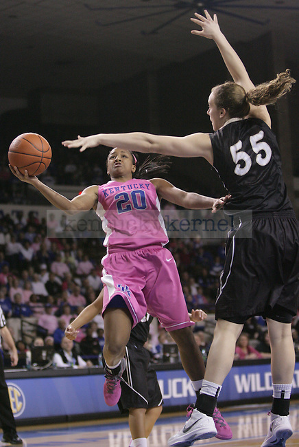 UK guard Maegan Conwright goes up for shot against Vanderbilt's Clair Watkins during the first half of the UK Women's basketball game against Vanderbilt on 2/20/12 at Memorial Coliseum in Lexington, Ky. Photo by Quianna Lige | Staff