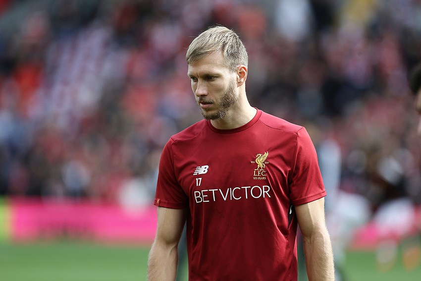 Liverpool's Ragnar Klavan during the pre-match warm-up <br /> <br /> Photographer Rich Linley/CameraSport<br /> <br /> The Premier League - Liverpool v Manchester United - Saturday 14th October 2017 - Anfield - Liverpool<br /> <br /> World Copyright &copy; 2017 CameraSport. All rights reserved. 43 Linden Ave. Countesthorpe. Leicester. England. LE8 5PG - Tel: +44 (0) 116 277 4147 - admin@camerasport.com - www.camerasport.com