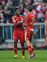 FUSSBALL  CHAMPIONS LEAGUE  HALBFINALE  HINSPIEL  2012/2013      FC Bayern Muenchen - FC Barcelona      23.04.2013 Jubel: David Alaba und Thomas Mueller (v.l., beide FC Bayern Muenchen)