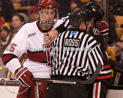 Wiley Sherman (Harvard - 25), Joe Ross - The Harvard University Crimson defeated the Northeastern University Huskies 4-3 in the opening game of the 2017 Beanpot on Monday, February 6, 2017, at TD Garden in Boston, Massachusetts.
