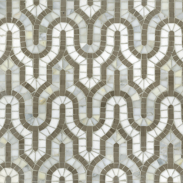 Name: Kasbah mosaic<br /> Style: Contemporary<br /> Product Number: CB1023<br /> Description: Kasbah in Thassos, Calacatta Tia, Driftwood (p)