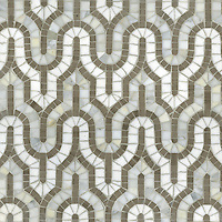 Kasbah, a hand-cut stone mosaic shown in Calacatta Tia, Driftwood, and Thassos, is part of the Silk Road collection by Sara Baldwin for New Ravenna Mosaics.
