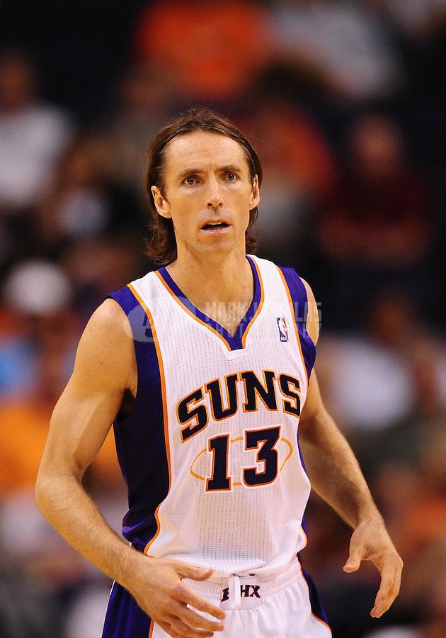 Oct. 12, 2010; Phoenix, AZ, USA; Phoenix Suns guard (13) Steve Nash against the Utah Jazz during a preseason game at the US Airways Center. Mandatory Credit: Mark J. Rebilas-