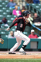 Rochester Red Wings second baseman James Beresford (2) at bat during a game against the Louisville Bats on May 4, 2014 at Frontier Field in Rochester, New  York.  Rochester defeated Louisville 12-6.  (Mike Janes/Four Seam Images)
