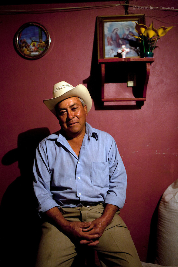 "2 may 2009 - La Gloria, Mexico - Guadalupe Serrano Gaspar, environmental activist,  fights to regulate the Carroll pig farms. He has lived in La Gloria all his life, says officials have never paid this much attention to the town and that for years they ignored residents' complaints that contaminants from nearby Carroll hog farms  were making them sick. Located in the states of Veracruz and Puebla, near Mexico City, Granjas Carroll is an industrial pig farms that produces close to 1 million animals a year. It is 50% owned by US company Smithfield Foods, the worlds largest producer and processor of pork products. In La Gloria, near where the farms are located, residents have been complaining about manure dumps, flies and smell from the farms for a long time. Since February, they have warned the authorities that the wastes of these pig breeding farms caused an outbreak of respiratory infections and pneumonia in 60% of their 3000 inhabitants. Mexican media has called the Carrol pig farms ""ground zero"" for infection. It recently was confirmed that an influenza case in the city, reported two weeks before the cases in Mexico City, was in fact the new strain of H1N1, combining genetic material from avian, swine and human influenza. The Food and Agriculture Organization (FAO) says that so far there is no established evidence that this strain of the influenza A virus has entered the human population directly from pigs, but it urges national governments and the international community to step up disease surveillance in swine. FAO together with the World Organization for Animal Health (OIE), will send a team of experts to Mexico this week to help the government assess the epidemiologic situation in the pig production sector. A spokesperson from Smithfields Foods said there is no clinical signs of influenza being reported in pigs or employees in the farm. Photo credit: Benedicte Desrus / Sipa Press, environmental activist, who has lived in La Gloria all his life, says officials"