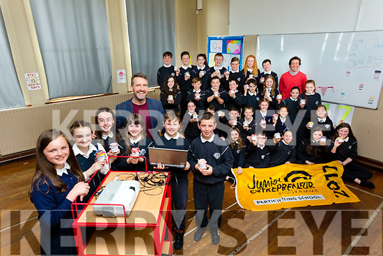 John Breen (entrepreneur) who was invited to talk to teh 5th Class pupils of Spa N S on Mondayu on their Entrepreneurship) also with the pupils is their teacher Niall Morgan.
