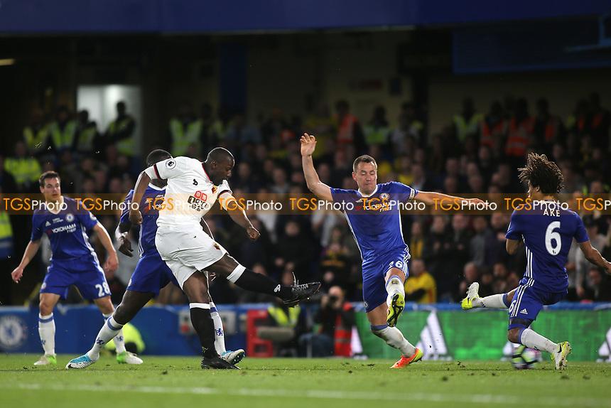 Stefano Okaka scores Watford's third goal during Chelsea vs Watford, Premier League Football at Stamford Bridge on 15th May 2017
