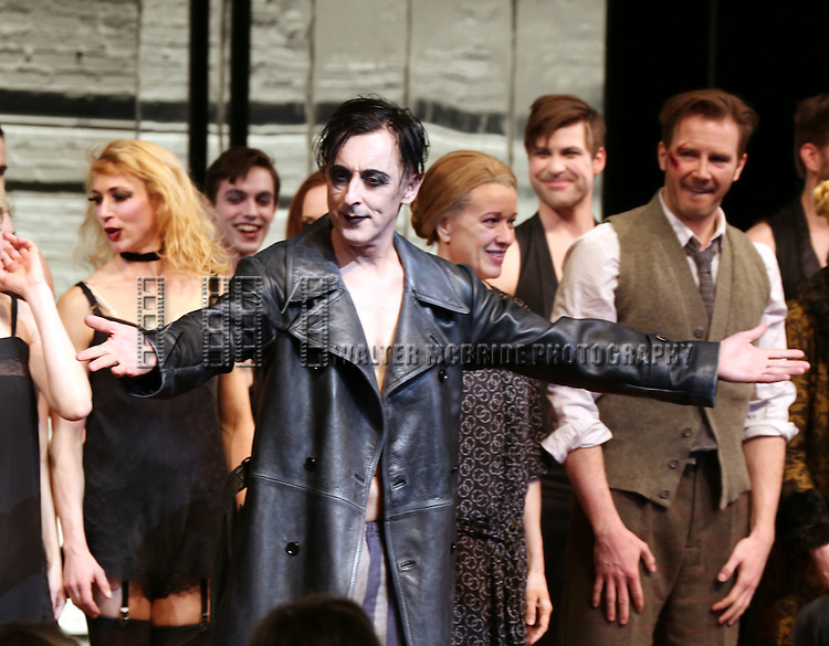 Alan Cumming, Linda Emond and Bill Heck during the Broadway Opening Night Performance Curtain Call for 'Cabaret' at Studio 54 on April 24, 2014 in New York City.