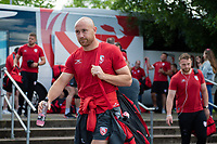 Willi Heinz and the rest of the Gloucester Rugby team arrive at Allianz Park. Gallagher Premiership Semi Final, between Saracens and Gloucester Rugby on May 25, 2019 at Allianz Park in London, England. Photo by: Patrick Khachfe / JMP