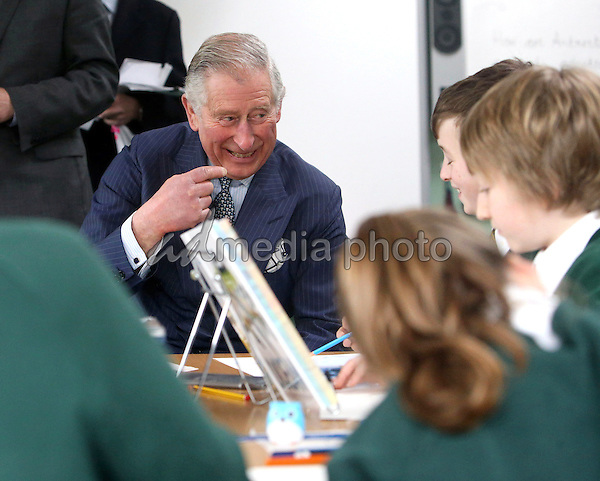 10 February 2016 - Walton-on-Thames, Surrey, United Kingdom - <br /> Prince Charles The Prince of Wales meets pupils during a visit to Ashley Primary School in Walton-on-Thames, Surrey. Photo Credit: Alpha Press/AdMedia