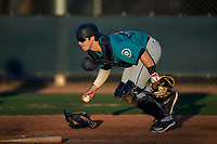 AZL Mariners catcher Brennon Kaleiwahea (13) during an Arizona League game against the AZL D-backs on July 3, 2019 at Salt River Fields at Talking Stick in Scottsdale, Arizona. The AZL D-backs defeated the AZL Mariners 3-1. (Zachary Lucy/Four Seam Images)