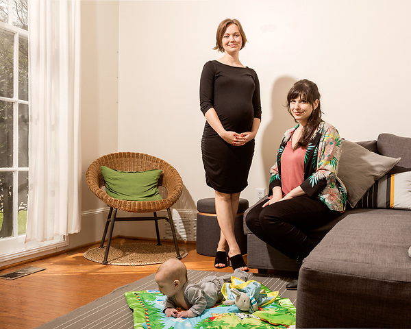 April 7, 2017. Durham, North Carolina.<br /> <br /> (clockwise from top left) Nido owners Tiff Frye and Lis Tyroler, with Tyroler's son Desmond Romine Tyroler.<br /> <br /> Nido is a co-working space which also offers a Montessori preschool on site. Catering to working parents with morning and afternoon preschool shifts, Nido has thrived and is actively looking for a larger space. <br /> <br /> Jeremy M. Lange for The New York TImes