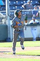 Charcer Burks #27 of the Boise Hawks runs to first base during a game against the Everett AquaSox at Everett Memorial Stadium on July 25, 2014 in Everett, Washington. Everett defeated Boise, 3-1. (Larry Goren/Four Seam Images)