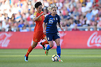 Sandy, Utah - Thursday June 07, 2018: Zhang Rui, McCall Zerboni during an international friendly match between the women's national teams of the United States (USA) and China PR (CHN) at Rio Tinto Stadium.