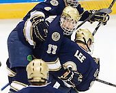 Billy Maday (Notre Dame - 17), Anders Lee (Notre Dame - 9) - The University of Notre Dame Fighting Irish defeated the Merrimack College Warriors 4-3 in overtime in their NCAA Northeast Regional Semi-Final on Saturday, March 26, 2011, at Verizon Wireless Arena in Manchester, New Hampshire.
