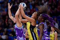 Pulse&rsquo; Aliyah Dunn and Stars&rsquo; Ama Agbeze in action during the ANZ Premiership - Pulse v Northern Stars at Te Rauparaha Arena, Porirua, New Zealand on Monday 25 June 2018.<br /> Photo by Masanori Udagawa. <br /> www.photowellington.photoshelter.com