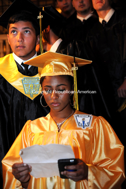 WATERBURY, CT, 21 JUNE 13- 062113AJ09- Kaynor Technical High School valedictorian Candice A. Pratt, of Terryville, practices her speech before graduation at the Palace Theater in Waterbury Friday evening.   Alec Johnson/ Republican-American