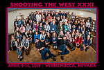 The photographers, students, friends, presenters, sponsors and vendors at Shooting The West XXXI pose for a group photo at the end of the symposium, thinking of next year's program. <br />