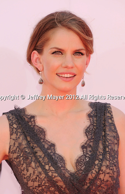 LOS ANGELES, CA - SEPTEMBER 23: Anna Chlumsky arrives at the 64th Primetime Emmy Awards at Nokia Theatre L.A. Live on September 23, 2012 in Los Angeles, California.