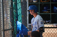 AZL Royals Bobby Witt Jr. (17) prepares for an at bat during an Arizona League game against the AZL Dodgers Lasorda on July 4, 2019 at Camelback Ranch in Glendale, Arizona. The AZL Royals defeated the AZL Dodgers Lasorda 4-1. (Zachary Lucy/Four Seam Images)