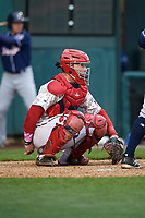 Harrisburg Senators catcher Jake Lowery (3) awaits the pitch during the second game of a doubleheader against the New Hampshire Fisher Cats on May 13, 2018 at FNB Field in Harrisburg, Pennsylvania.  Harrisburg defeated New Hampshire 2-1.  (Mike Janes/Four Seam Images)