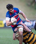Daymon Leasuasu gets dragged to ground by James Conaglen. Counties Manukau Premier 1 McNamara Cup Final between Ardmore Marist and Bombay, played at Navigation Homes Stadium on Saturday July 20th 2019.<br />  Bombay won the McNamara Cup for the 5th time in 6 years, 33 - 18 after leading 14 - 10 at halftime.<br /> Photo by Richard Spranger.