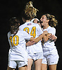 St. Anthony's teammates celebrate after a goal by Lauren Hackett #24 gave the Lady Friars a 2-0 lead over Sacred Heart Academy in the Nassau-Suffolk CHSAA varsity girls soccer final at Adelphi University on Wednesday, Nov. 1, 2017. St. Anthony's went on to win by that same score.