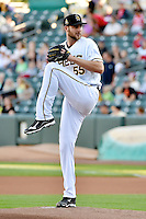 Salt Lake Bees starting pitcher Chris Volstad (55) delivers a pitch to the plate against the Round Rock Express in Pacific Coast League action at Smith's Ballpark on August 21, 2014 in Salt Lake City, Utah.  (Stephen Smith/Four Seam Images)