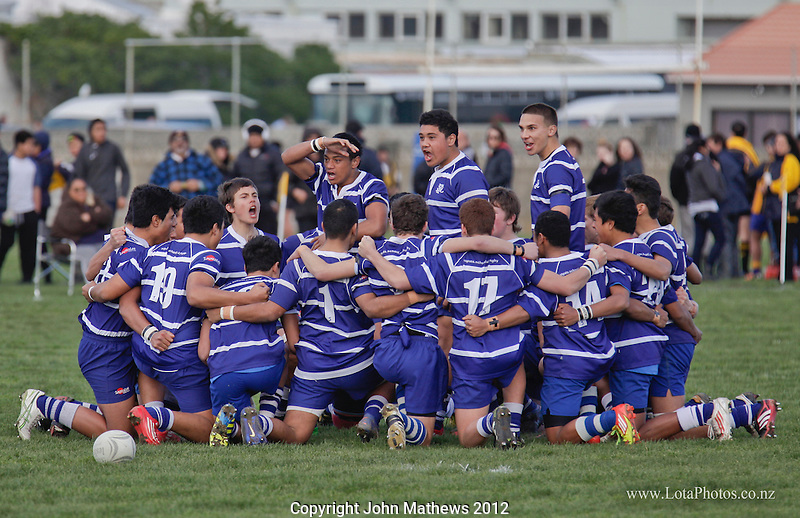 St Pats performing a haka prior to  the Wellington Secondary Schools Rugby Under 15 Div 1 final between St Pats and Wellington College played at Rongotai, Wellington on 25 August 2012. Photo: john.mathews@xtra.co.nz