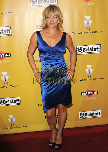 ZOE BELL.At Weinstein Company Post Golden Globe Party held at Bar210 & Plush Ultra Lounge in Beverly Hills, California, USA. January 17th, 2010                                                                   globes full length blue sleeveless silk satin dress hands on hips.CAP/DVS.©Debbie VanStory/Capital Pictures