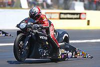 May 14, 2016; Commerce, GA, USA; NHRA pro stock motorcycle rider Matt Smith during qualifying for the Southern Nationals at Atlanta Dragway. Mandatory Credit: Mark J. Rebilas-USA TODAY Sports