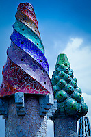 Palau Guell, colorful chimney tops in Barcelona Spain