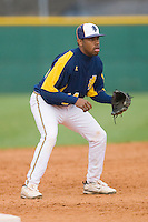 Third baseman Dario Little #24 of the North Carolina A&T Aggies on defense versus the High Point Panthers at War Memorial Stadium March 16, 2010, in Greensboro, North Carolina.  Photo by Brian Westerholt / Four Seam Images