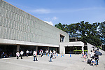 Visitors gather at the National Museum of Western Art in Ueno Park on July 18, 2016, Tokyo, Japan. The UNESCO World Heritage Committee decided to add Japan's National Museum of Western Art designed by the Swiss-French architect Le Corbusier to the World Heritage list during a meeting in Istanbul on Sunday. The museum which was completed in 1959 is the only Japanese structure designed by the world renowned architect. (Photo by Rodrigo Reyes Marin/AFLO)