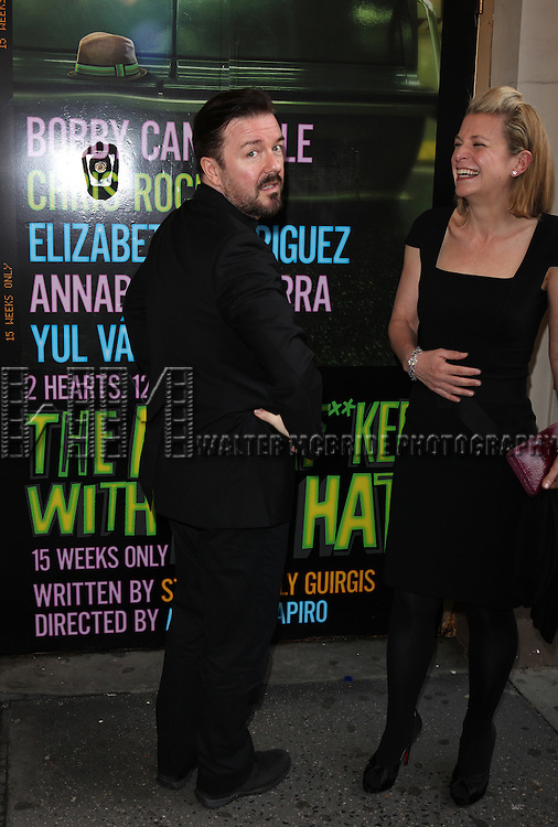 Ricky Gervais and Jane Fallon.attending the Broadway Opening Night Performance  for 'The Mother F**ker with the Hat'  in New York City.