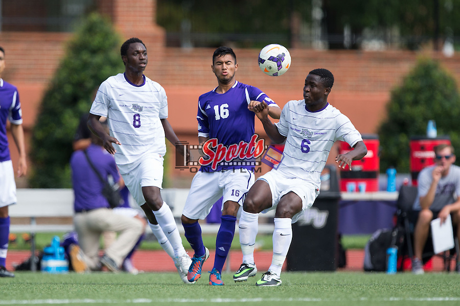 Alejandro Pacheco (16) of the Western Illinois Leathernecks battles for the ball with Saad Acheampong (6) and Ebe Kudolo (8) of the High Point Panthers at Vert Track, Soccer & Lacrosse Stadium on September 14, 2014 in High Point, North Carolina.  The Leathernecks defeated the Panthers 2-1.  (Brian Westerholt/Sports On Film)