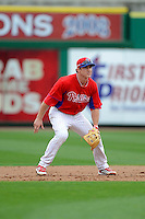 Philadelphia Phillies second baseman Chase Utley #26 during a Spring Training game against the Boston Red Sox at Bright House Field on March 24, 2013 in Clearwater, Florida.  Boston defeated Philadelphia 7-6.  (Mike Janes/Four Seam Images)