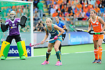 The Hague, Netherlands, June 14: Edwina Bone #13 of Australia defends during the match during the field hockey gold medal match (Women) between Australia and The Netherlands on June 14, 2014 during the World Cup 2014 at Kyocera Stadium in The Hague, Netherlands. Final score 2-0 (2-0)  (Photo by Dirk Markgraf / www.265-images.com) *** Local caption ***