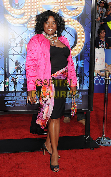 "Loretta Devine.arriving at the Los Angeles Premiere of ""Glee: The 3D Concert Movie"" at the Regency Village Theatre in Westwood, California, USA, August 6th, 2011..full length pink jacket scarf black dress .CAP/ROT/TM.©TM/Roth Stock/Capital Pictures"