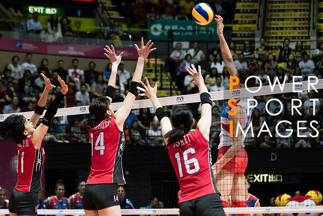 Middle blocker Stefana Veljkovic (R) of Serbia spikes the ball during the FIVB Volleyball World Grand Prix - Hong Kong 2017 match between Japan and Serbia on 22 July 2017, in Hong Kong, China. Photo by Yu Chun Christopher Wong / Power Sport Images