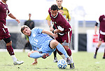 13 November 2011: North Carolina's Enzo Martinez (16) is knocked off of the ball by Boston College's Amit Aburmad (ISR) (7). The University of North Carolina Tar Heels defeated the Boston College Eagles 3-1 at WakeMed Stadium in Cary, North Carolina in the Atlantic Coast Conference Men's Soccer Tournament championship game.