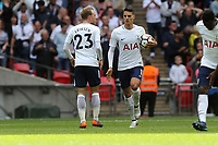Erik Lamela of Tottenham Hotspur celebrates scoring the third goal during Tottenham Hotspur vs Leicester City, Premier League Football at Wembley Stadium on 13th May 2018