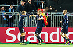 Stockholm 2015-10-25 Fotboll Allsvenskan Hammarby IF - Malm&ouml; FF :  <br /> Malm&ouml;s spelare firar 0-1 m&aring;let av Rasmus Bengtsson framf&ouml;r Malm&ouml;s supportrar under matchen mellan Hammarby IF och Malm&ouml; FF <br /> (Foto: Kenta J&ouml;nsson) Nyckelord:  Fotboll Allsvenskan Tele2 Arena Hammarby HIF Bajen Malm&ouml; FF MFF supporter fans publik supporters jubel gl&auml;dje lycka glad happy