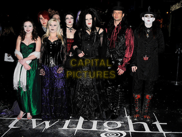 "FANS .Attending the ""Twilight"" UK Film Premiere  at the Vue Cinema, Leicester Square,  London, England, .December 3rd 2008..full length gothic goths costumes purple green black lace dress corset top hat black suit red lace up boots .CAP/CAN.©Can Nguyen/Capital Pictures"
