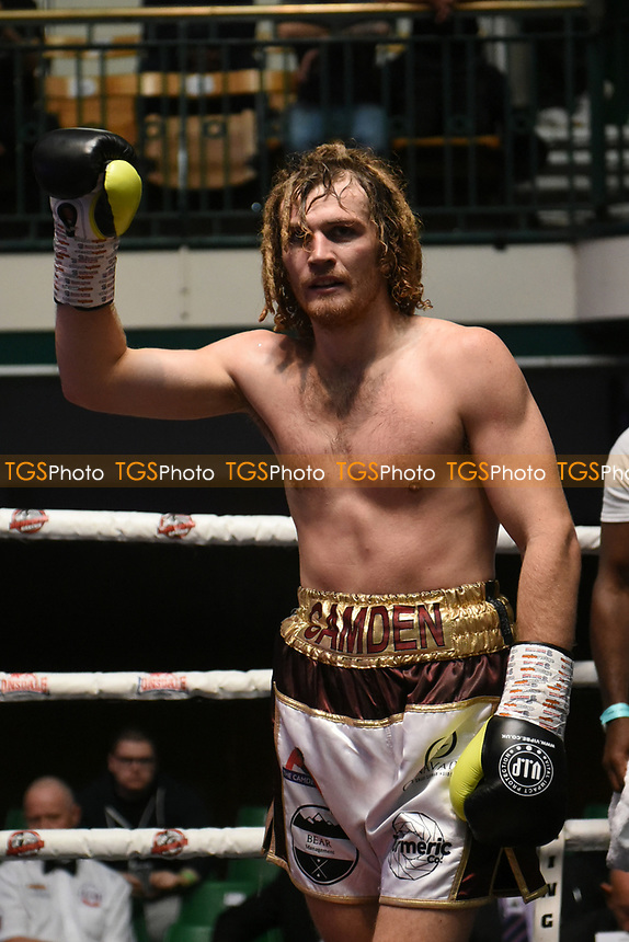 Robbie Chapman (white shorts) defeats Kearan Thomas during a Boxing Show at York Hall on 7th September 2019