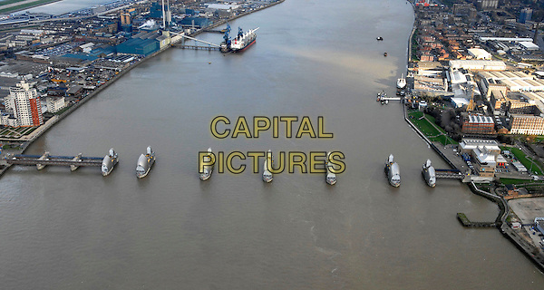 THE THAMES BARRIER.An aerial view, London, UK..January 23rd, 2007.gv general view water river.CAP/FIN.©Steve Finn/Capital Pictures