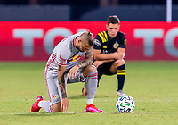 16th July 2020, Orlando, Florida, USA;  Players take a knee before the MLS Is Back Tournament between the Columbus Crew SC versus New York Red Bulls on July 16, 2020 at the ESPN Wide World of Sports, Orlando FL.